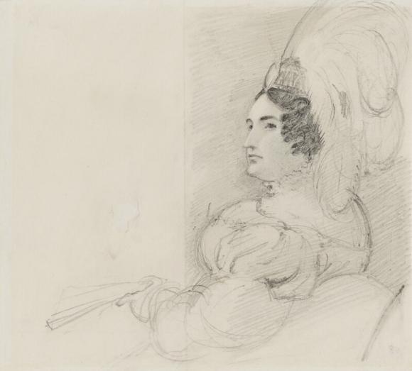 Drawing of Caroline Amelia Elizabeth of Brunswick in a plumed headdress,1820