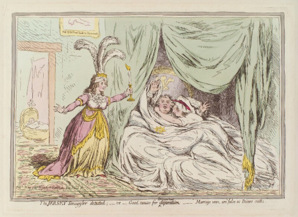Caricature of Queen Caroline discovering George IV in bed with the Countess of Jersey