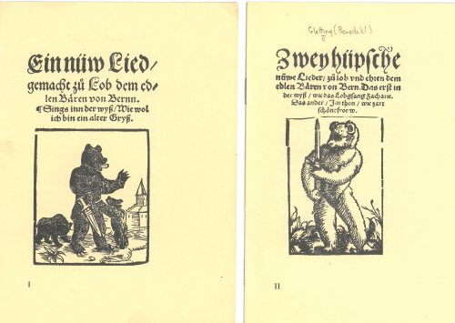 Title-pages of two 16th-century poems, with woodcuts of bears