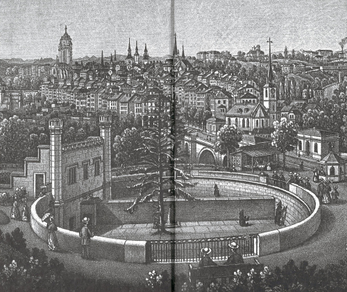19th-century engraving of the bear pit in Bern