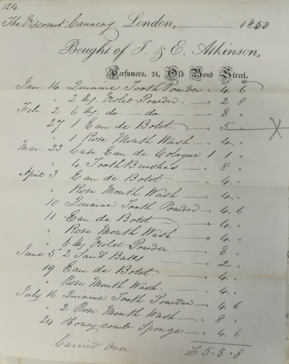 Bill for personal hygiene products from J & E Atkinson perfumers, 24 Old Bond Street