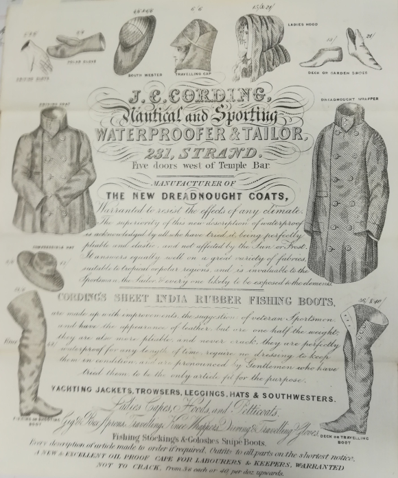 Illustrated paper describing the goods offered by J. C. Cording, nautical and sporting waterproofer and tailor, 231 Strand