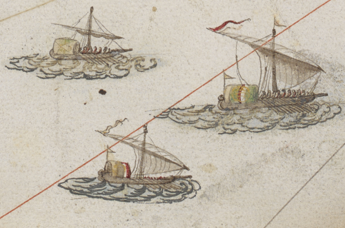 A detail from the Roterio do Mar Roxo, showing three galleys, their oars in the water, and two with their sails aloft.