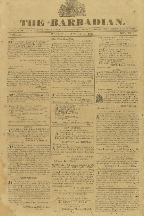 The Barbadian newspaper from 1 January 1823