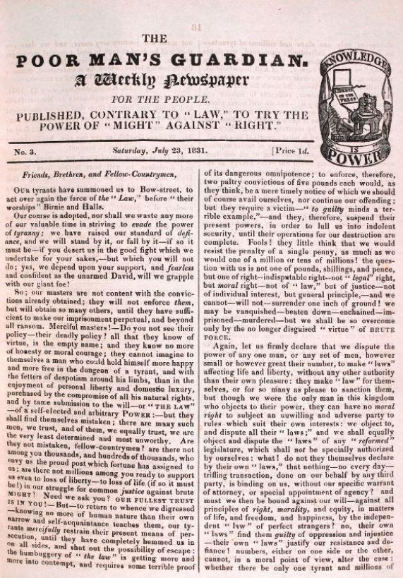 Poor Mans Guardian newspaper 23 July 1831