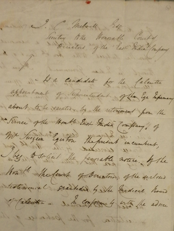 Letter from Dr Green applying for the position of Superintendent of the Calcutta Eye Infirmary