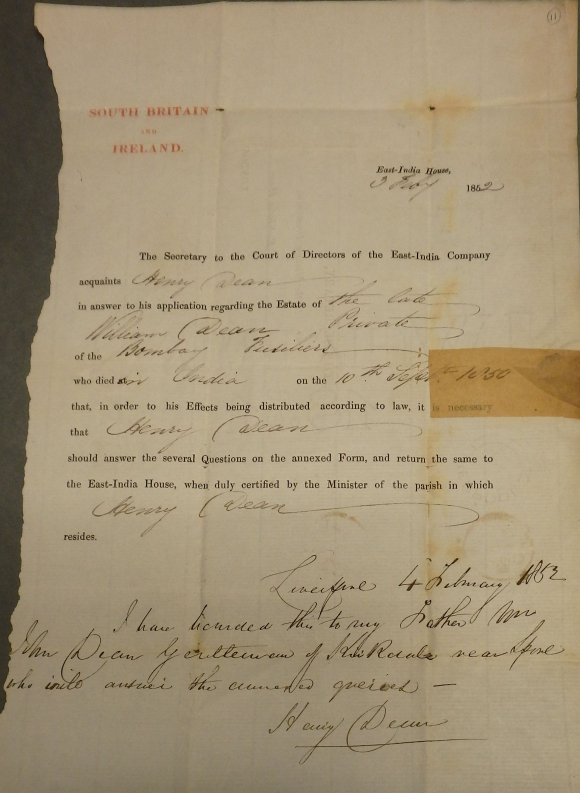 Enquiry from Henry Dean about the effects of William Dean
