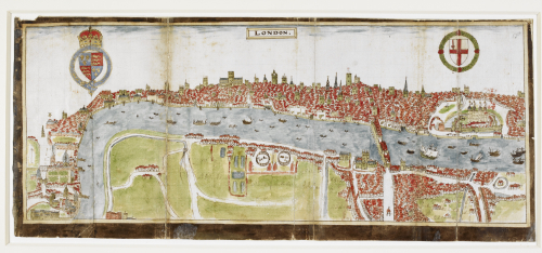 Bird's-eye view map of London, Westminster in Middlesex, and Southwark in Surrey, by William Smith, 1588