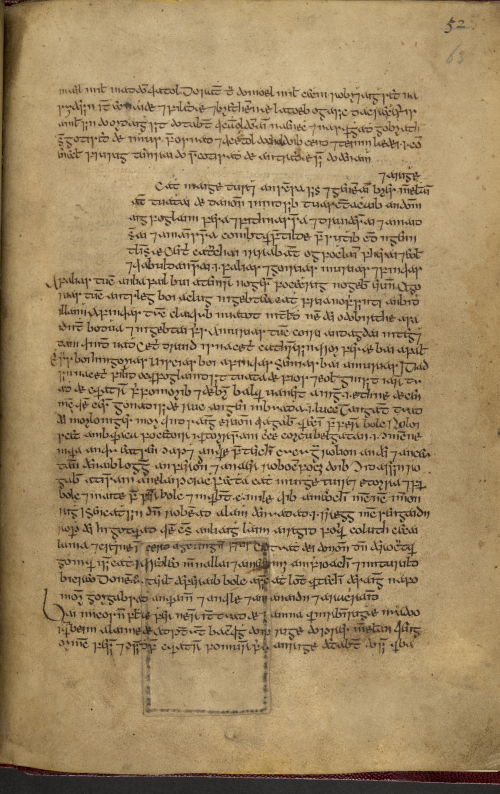 A page from a 16th-century Irish manuscript. The space for the initial is left unfilled.