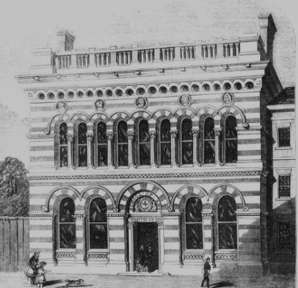 Sheffield School of Art in 1857 - view of exterior of building