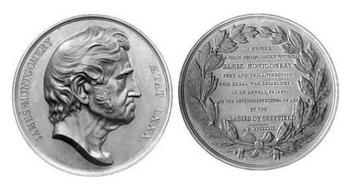 Both sides of a Montgomery Medal, one with the head of James Montgomery in profile