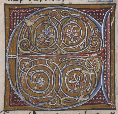 Detail of an illuminated initial 'E', with scrolls of foliage and intertwining beasts