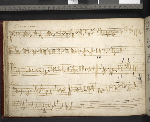 Instrumental parts for an 'Allemand d'amour', at the back of a triplex part book.