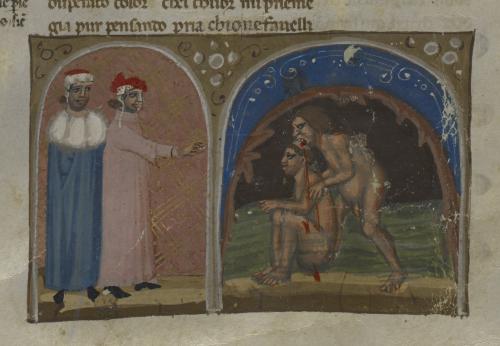 Dante and Virgil witness Count Ugolino gnawing Archbishop Ruggieri's scalp
