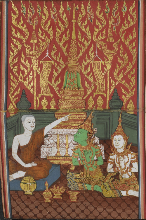 Phra Malai, Indra and a male deity in front of the Chulamani Chedi, illustrated in a folding book with extracts from the Tipitaka and the story of Phra Malai, Central Thailand, 1875