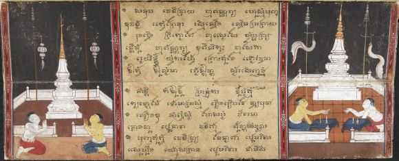 Two illustrations of the Chulamani Chedi with white lanterns (left), white funeral banners (right), tiered umbrellas on top of poles, and worshippers in a Phra Malai manuscript from Central Thailand dated 1857