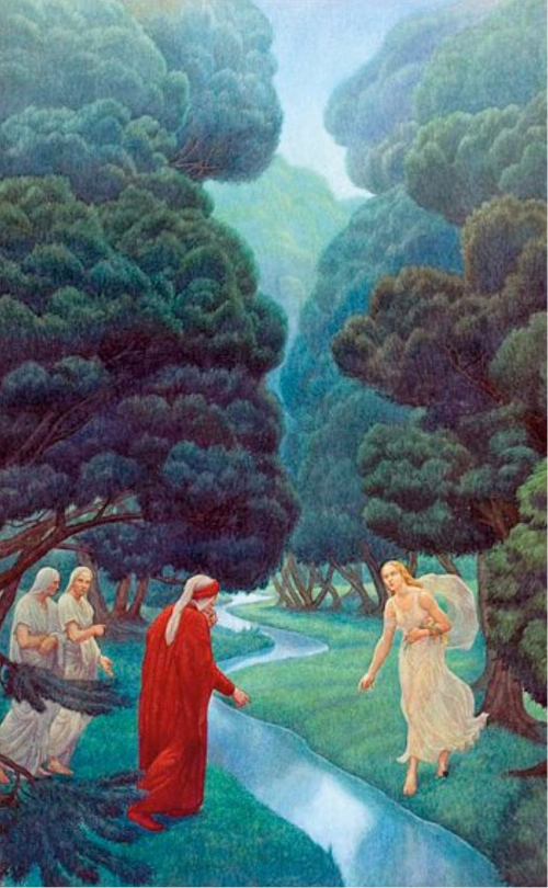 Plate by Amos Nattini depicting purgatory