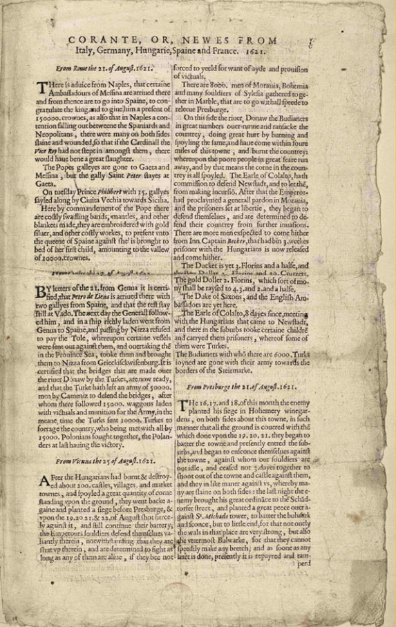 Front page of the first British newspaper from 24 September 1621
