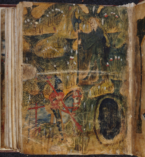 An illustration from the manuscript of Sir Gawain and the Green Knight, showing Gawain on horseback approaching the Green Chapel, with the Green Knight awaiting him