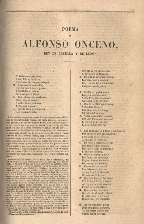 First page of 'Poema de Alfonso Onceno'
