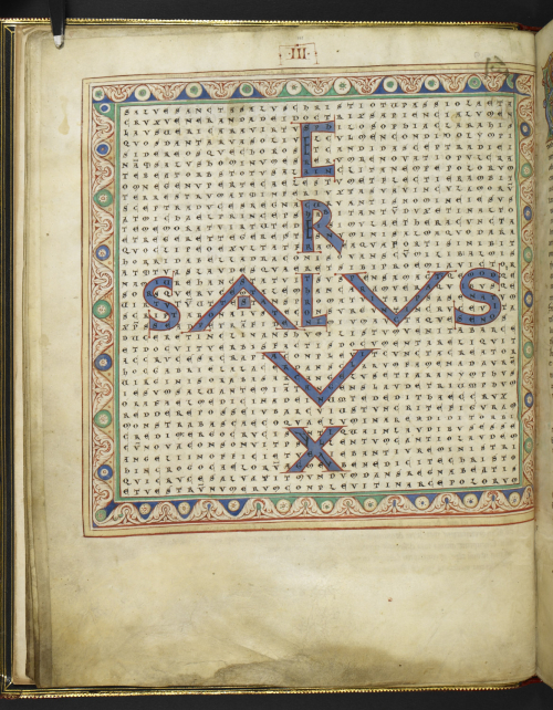 Figured poem spelling out 'Crux salus' in the shape of a cross