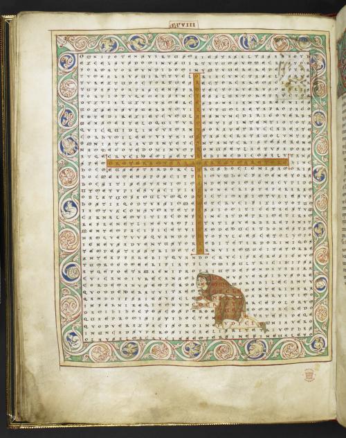 Figured poem with a cross and a portrait of Rabanus Maurus