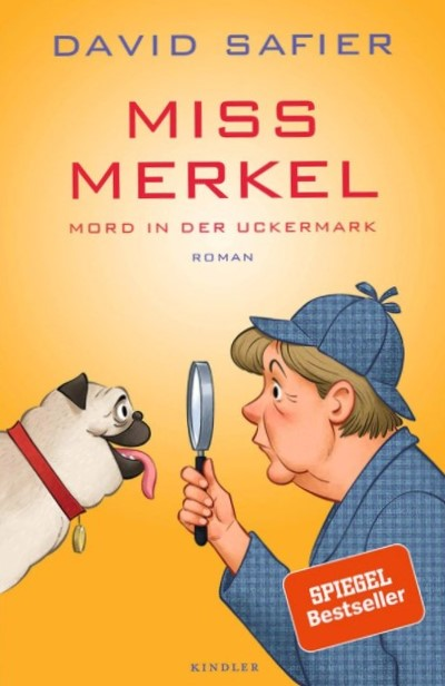 Book cover with a cartoon of Angela Merkel and a pug