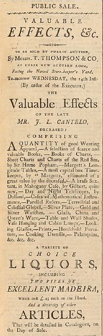 List of the effects of John Linley Cantelo sold at auction in Calcutta