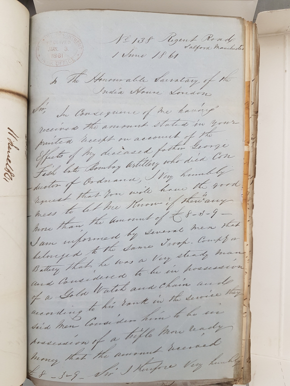 Letter from Mary Lomas to the India Office June 1861