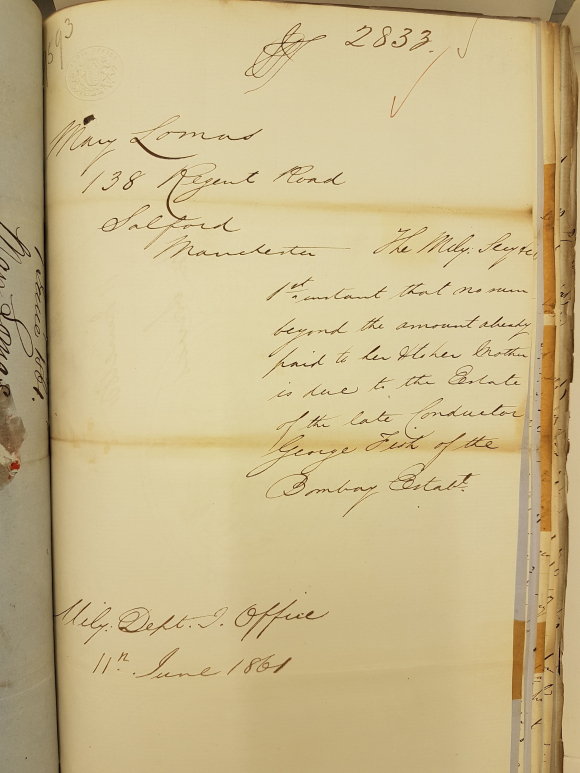 Reply to Mary Lomas from the India Office June 1861