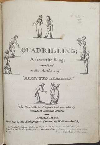 Title page of Robert Southey's Quadrilling: A favourite Song, ascribed to the Authors of 'Rejected Addresses'