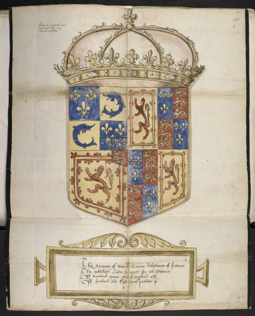 A manuscript illustration of the coat of arms of Mary, Queen of Scots, and her husband, coloured in red, yellow and blue