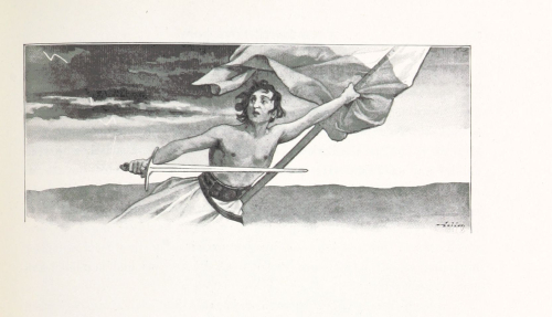Drawing of a figure holding a flag and sword