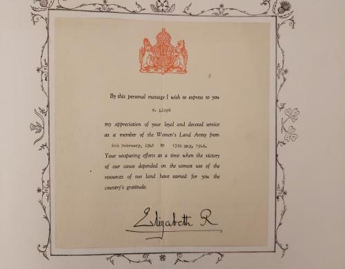'Personal message' of appreciation signed by Queen Elizabeth