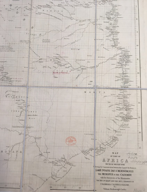 W.D. Cooley's 'Map of part of Africa, South of the Equator, shewing the discoveries of the Rev. Dr. Krapf and Rev. J. Rebmann'