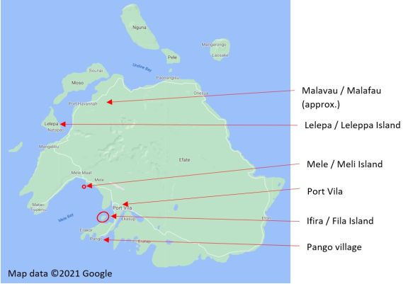 A map of Efate highlighting Port Vila and the villages of the C83 Vanuatu performers. Map data ©2021 Google.