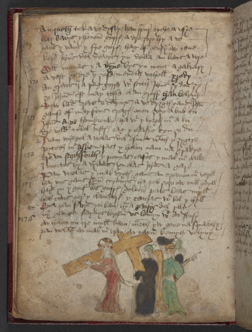 A page from the Cornish Passion Poem with an illustration in the lower margin, showing Christ on the left in a red robe holding the Cross, coloured in yellow, and followed by two figures coloured in black and green