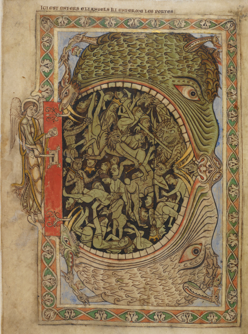 A representation of the Last Judgement from the Winchester Psalter, showing an enormous hell-mouth swallowing demons and the souls of the damned, and an archangel locking the gates of Hell.