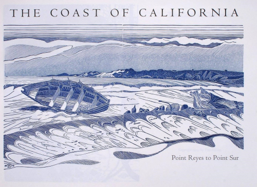 A double-page blue and white print depicting the sea, mountains and a wooden boat on its side.